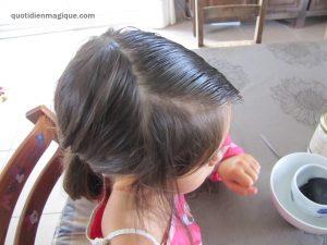 application sur cheveux poux